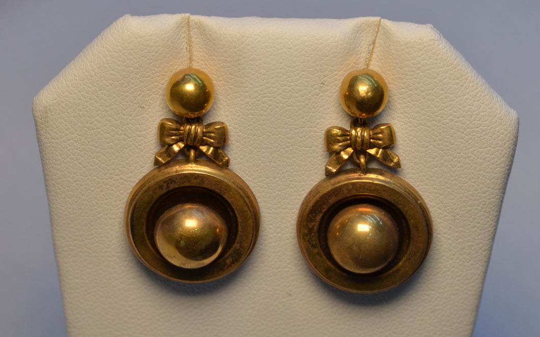 Antique Victorian 14K Yellow Gold Earrings