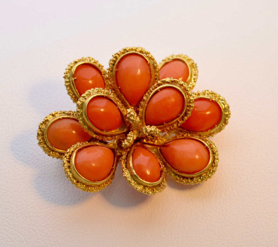 18K yellow gold Italian Coral Brooch