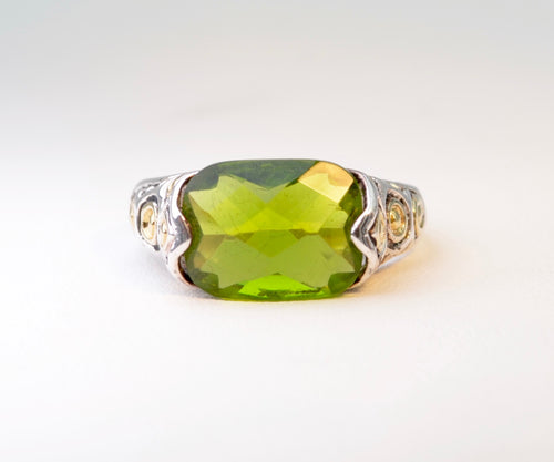 Sterling Silver Faceted Synthetic Green Stone
