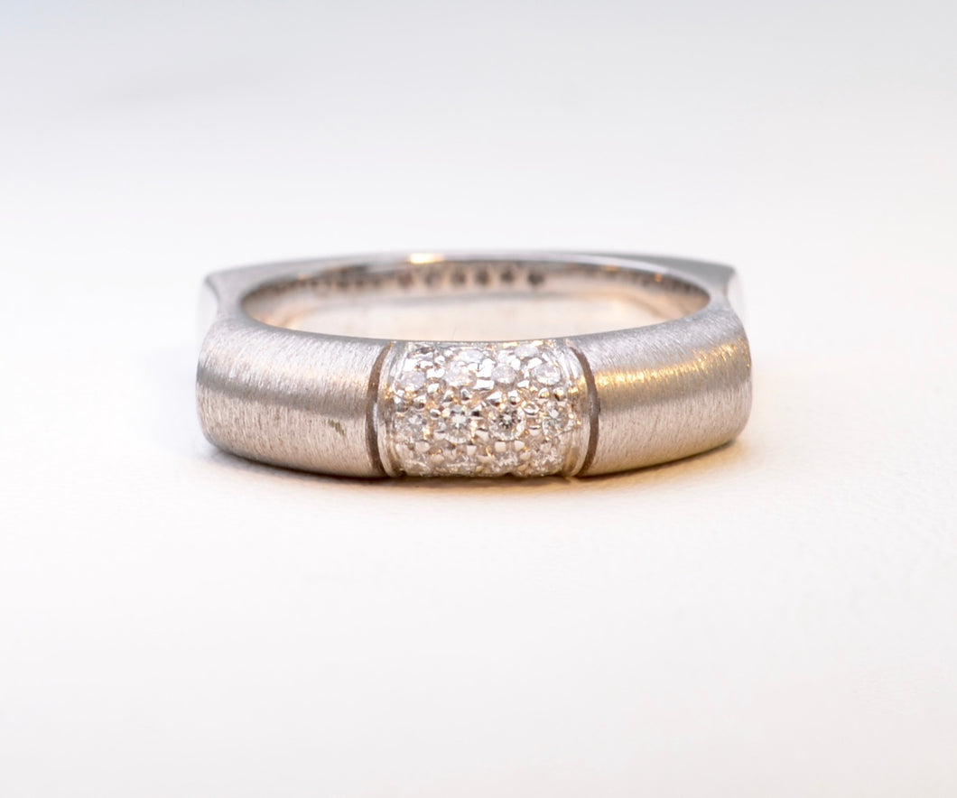 Satin Finish Diamond Pave Band