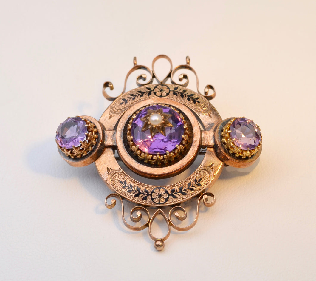 Antique 18K Rose Gold Victorian Brooch with Amethysts and Seed Pearl