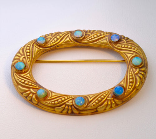 14K Victorian Buckle Brooch with Opals