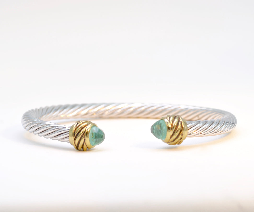 Bangle with Faceted Light Blue Stone