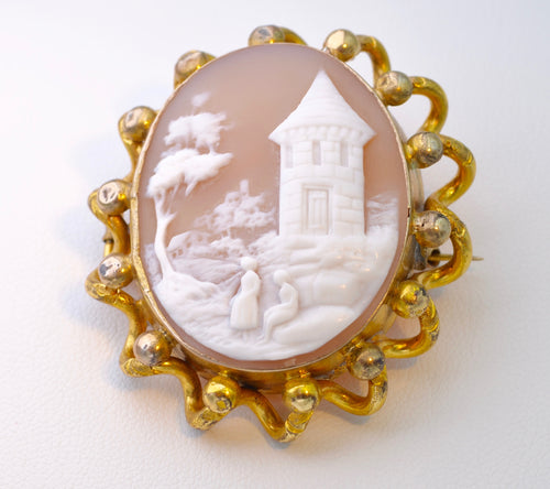 Victorian Conch-Shell Cameo with Village Scene