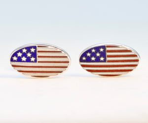 Sterling Silver American Flag Cufflinks