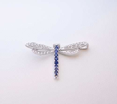 18K White Gold Diamond and Sapphire Dragonfly Pin