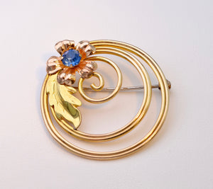 12K Gold-filled Two-Tone Yellow and Pink Gold Floral Sapphire Brooch