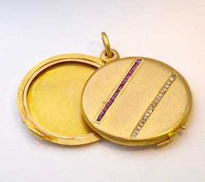 Antique 18K Yellow Gold Locket with Ruby and Diamond Trims