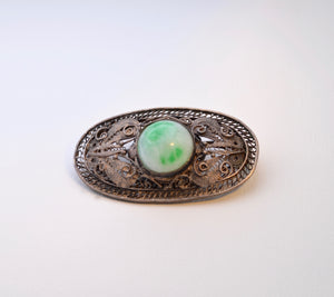 Hand-made Chinese Silver Brooch with Jadeite Cabochon
