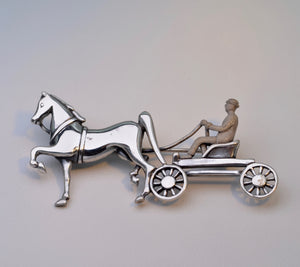 Sterling Silver Horse and Carriage Brooch