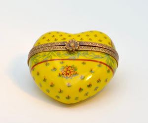 Yellow Floral Heart Limoges