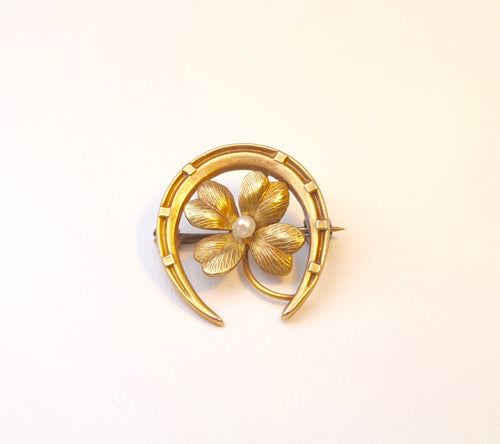 14K Antique Horseshoe and Four-Leaf Clover Brooch with Seed Pearl