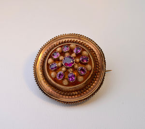 Etrucscan-Revival Pin with Rhodolite Garnets