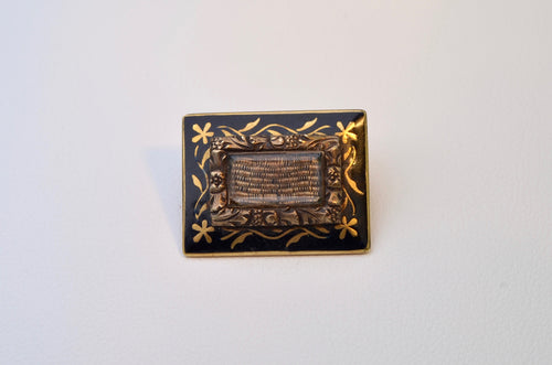 14K Victorian Miniature Hair Pin with Woven Hair in center frame