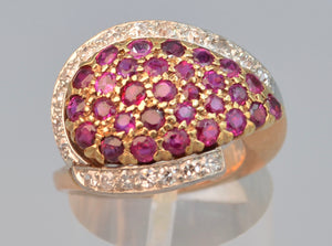 SOLD 14K Rose Gold ring with Diamonds and Rubies