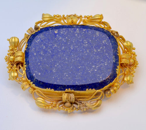 Large Victorian Lapis Lazuli Brooch with Woven Hair