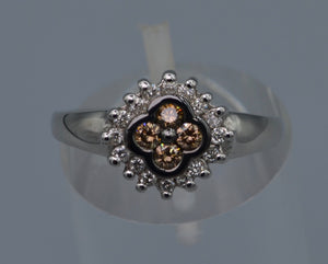 14K white gold ring with four center Brown Diamonds framed with white Diamonds