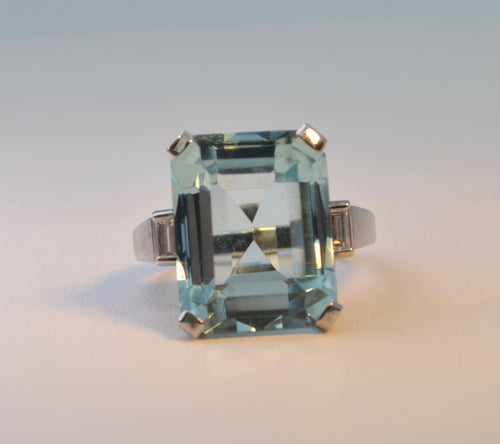 Aquamarine and Diamond Cocktail Ring in 14K White Gold