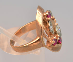 14K Rose Gold Diamond and Ruby ring, ca. 1940's Retro style