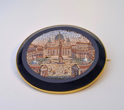14K-Framed Pietra Dura of St. Peter's Square