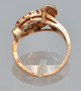 14K rose gold ring with Diamonds and Rubies, ca. 1940's