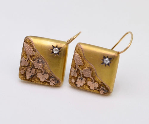 14K Antique Early American Gold Earrings with Rose-Cut Diamond Accent