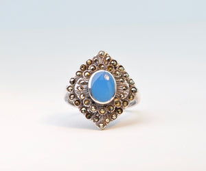 Sterling Silver/Marcasite Ring with Blue Onyx Cabochon