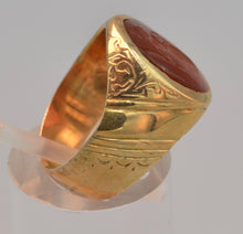 14K yellow gold Victorian ring with old Roman Intaglio