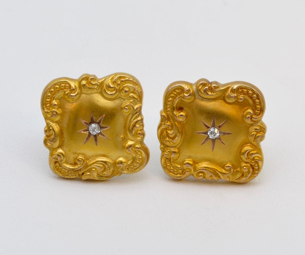18K Art Nouveau Gold Earrings with Rose-Cut Diamond