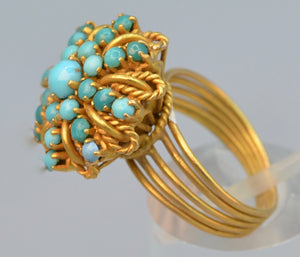 18K yellow gold Turquoise ring handmade in Egypt