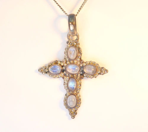Sterling Silver and Moonstone Cross