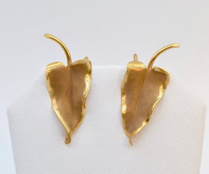 14K Art Nouveau-style Leaf Earrings