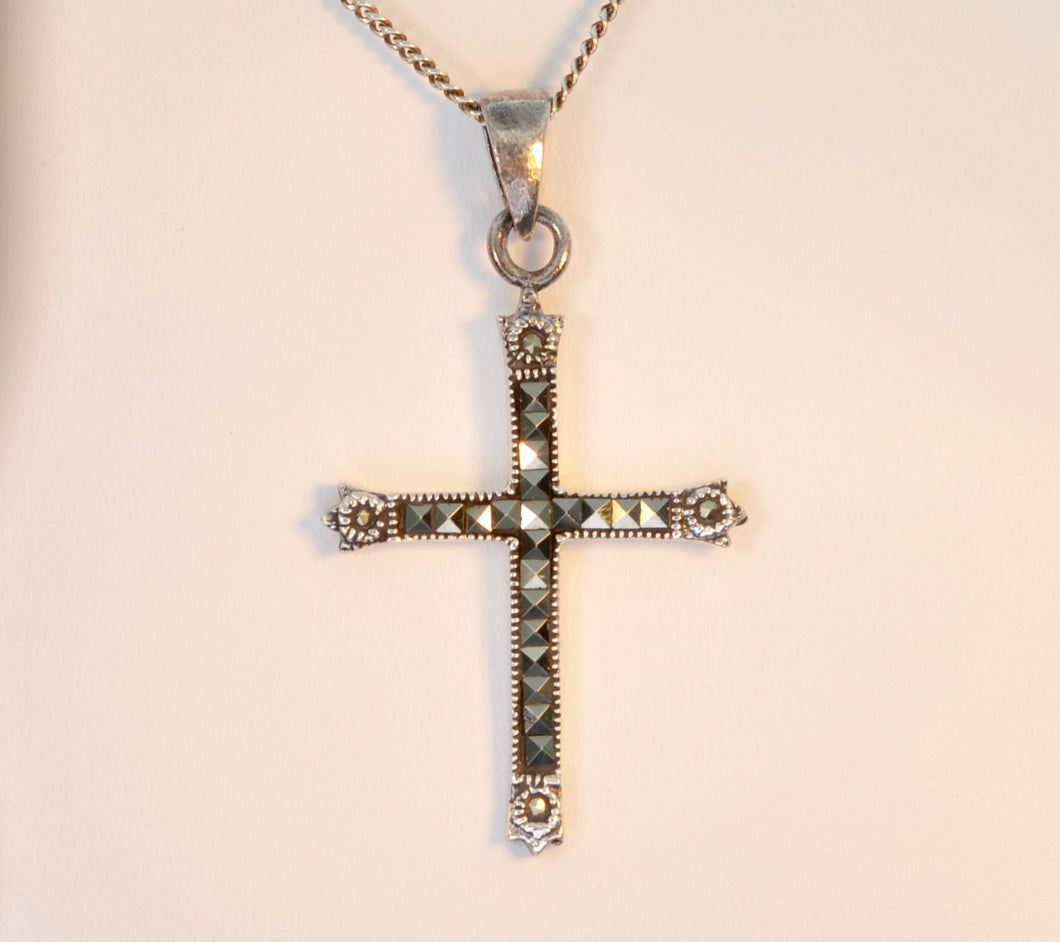 Sterling Silver and Marcasite Cross