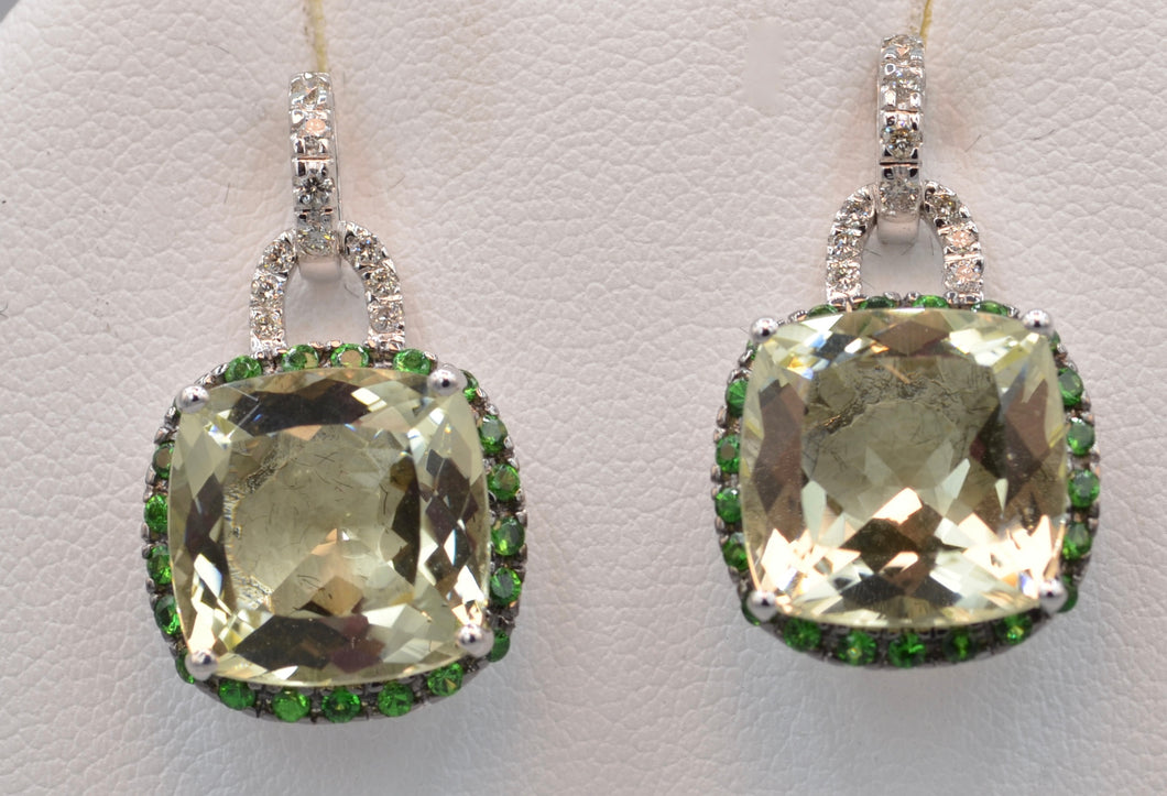 Green Quartz and Diamond Earrings Trimmed with Green Garnets