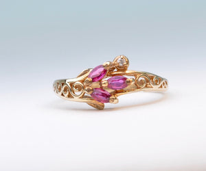 Ruby Ring with Small Side Diamond in 14K Yellow Gold