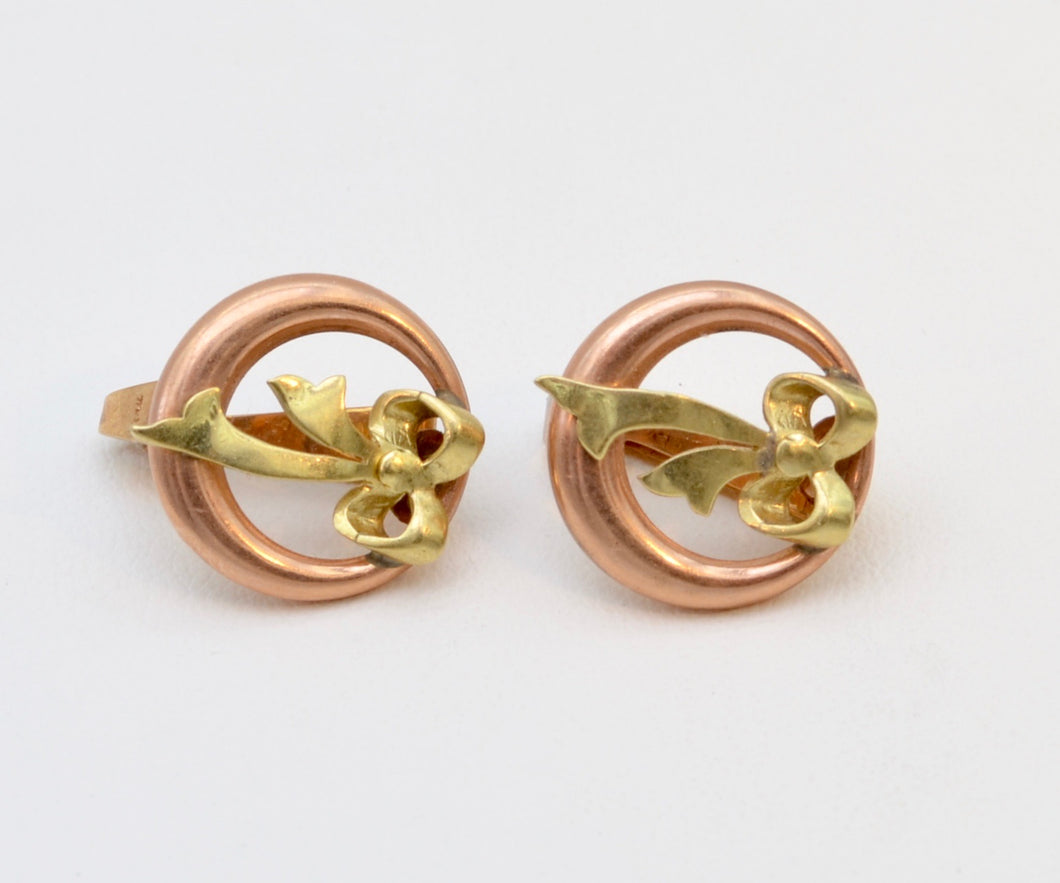 14K Yellow and Rose Gold Bow Earrings