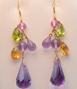 "14K yellow gold 2"" long dangle earrings with Amethysts, Peridots and Citrines"