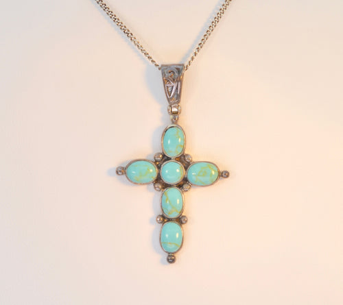 Sterling Silver and Turquoise Cross