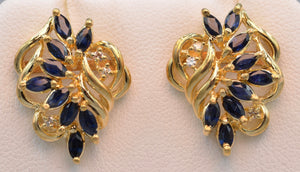 14K yellow gold Sapphire post earrings with diamonds