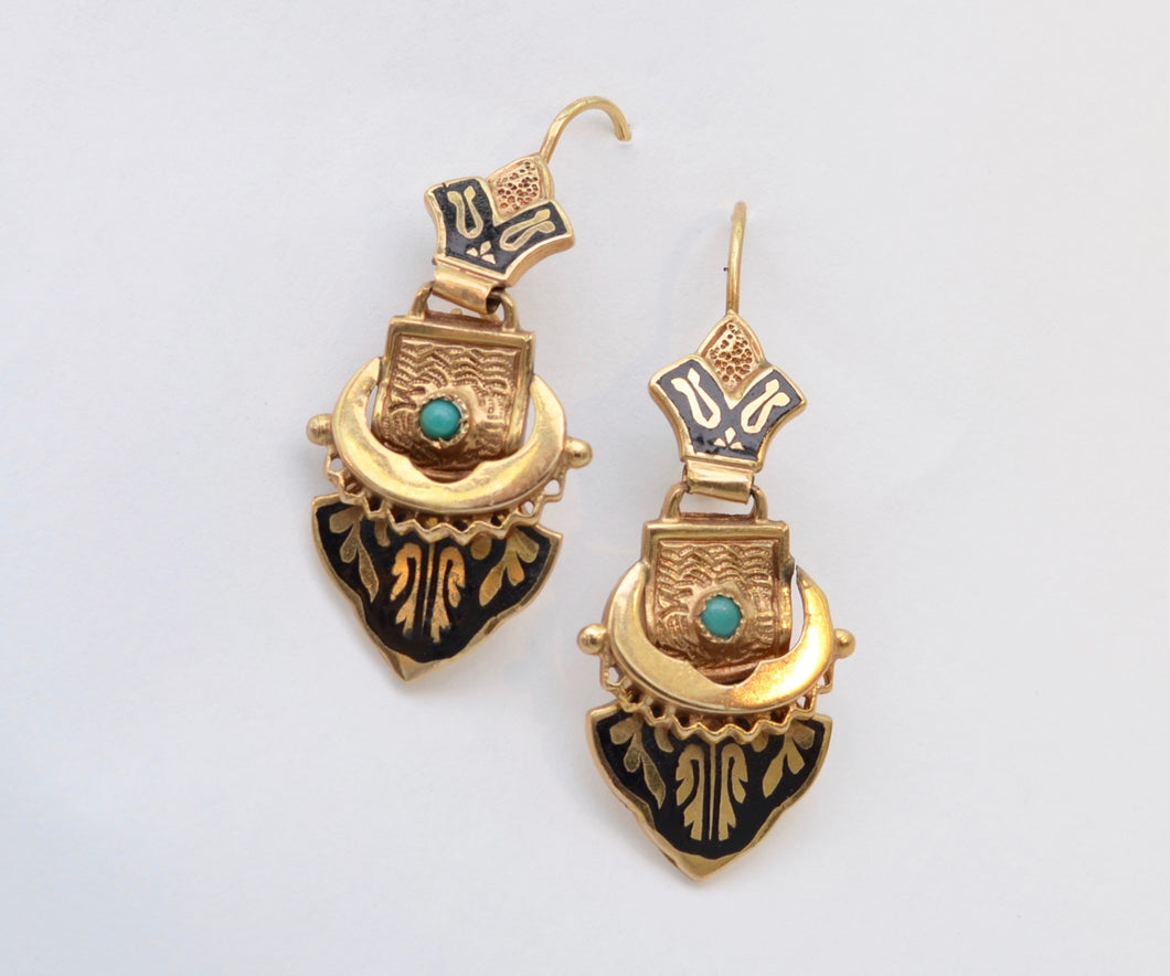 14K Victorian Dangle Earrings