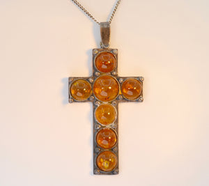Amber Cross in Sterling Silver