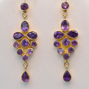 18K yellow gold, Amethyst dangle earrings