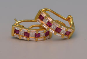 18K yellow gold Ruby/Diamond hoop earrings with Omega backs