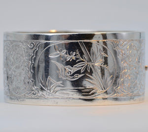 Sterling Silver Victorian Decorative Wide Cuff Bracelet