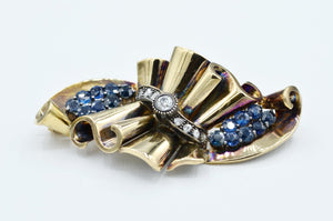 15K and Sterling Silver Diamond and Sapphire Brooch