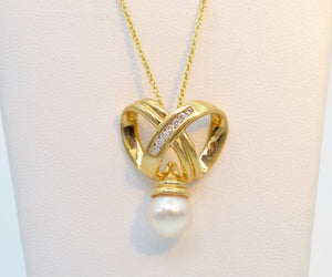 Infinity Gold, Diamond and Pearl Necklace