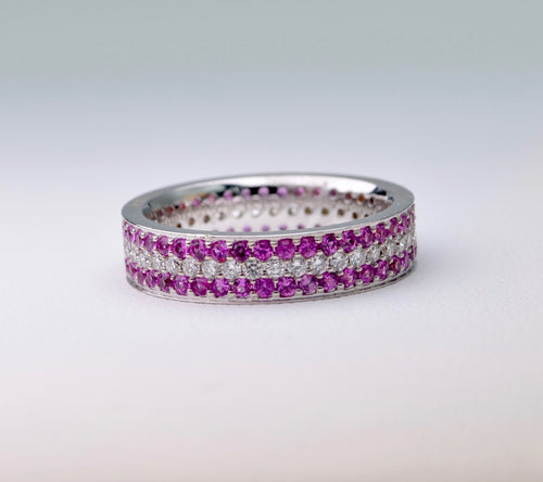 18K white gold wedding band with all-around Pink Sapphire and Diamonds