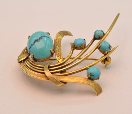 14K yellow gold brooch with Turquoises