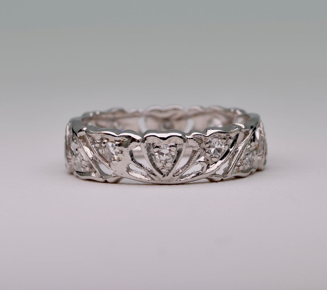 Platinum Band set with 12 single-cut Diamonds
