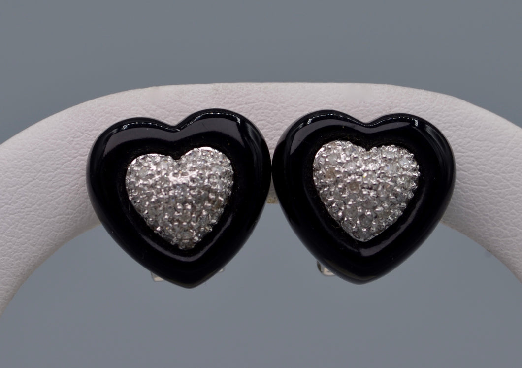 14K white gold heart-shaped onyx and diamond earrings